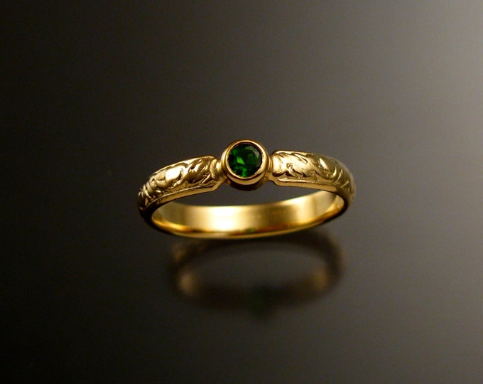 Chrome Diopside Wedding ring 14k Yellow Gold emerald substitute Victorian bezel set ring made to order in your size