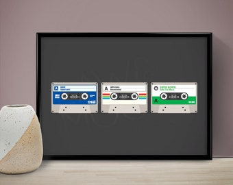 Cassette Tapes Personalised Poster, Wedding Gift, Birthday Gift, Present, Gift
