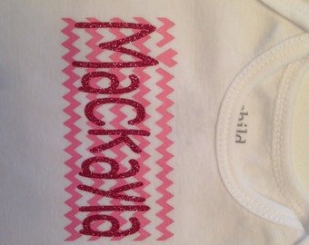 Personalized Baby Girl Onesie Bodysuit Chevron Name long sleeve