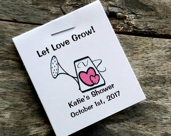 Watering Can Heart Design Flower Seed Favors - Bridal Shower Favors - Wedding Favors Personalized Shabby Chic Seed Packets Birthday Favors