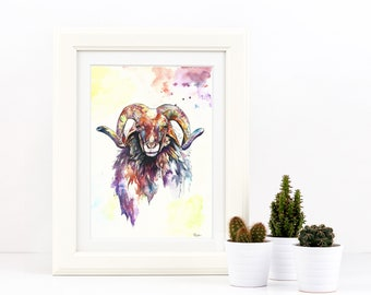 A3 Painting Watercolour Ram Colourful Sheep Art Print - Limited Edition