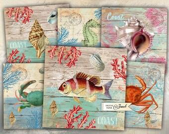 Coast Cards - set of 6 - digital collage sheet - Printable Download