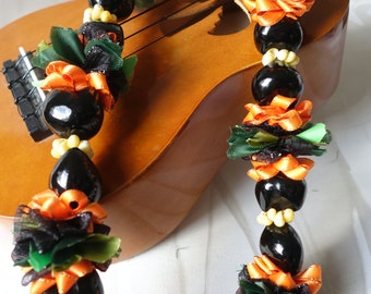 Hawaiian KuKui Nut Lei Orange and Black