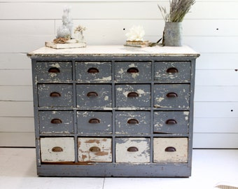 Vintage Apothecary Cabinet, Painted Wood Apothecary , Vintage Farmhouse  Storage