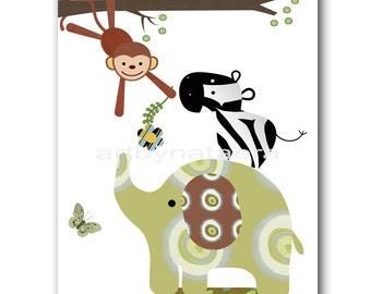 Elephant Nursery Print Digital file Children Art Kids Wall Art Baby Boy Room Decor Baby Boy Nursery Art 8x10 11X14 INSTANT DOWNLOAD Kids Art