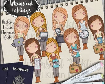 The Teen Future Planner Girls Clipart Collection- Immediate Download
