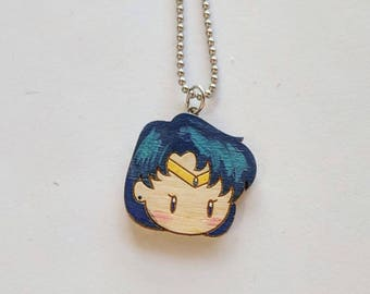 Sailor Mercury - Ami Mizuno - Sailor Scout - Sailor Moon - Anime - Geeky Gifts - Laser Cut & Hand Painted Wooden Necklace Pendant