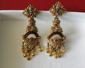 Inlayed costume earrings