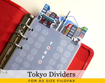 A5 Size Cute Kawaii DIY Tokyo Dividers 5 Top Tabs for Filofax Kikki.K Louis Vuitton Planner Printable PDF Instant Download