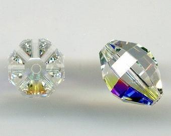 Vintage Swarovski Beads 12 x 10mm Crystal AB Art. 416 Very Unusual Shape