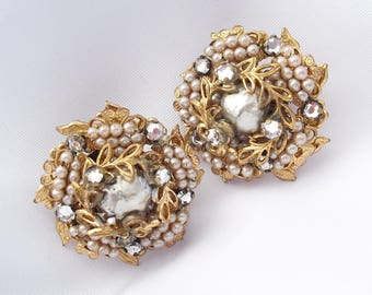 Miriam Haskell-Inspired Earrings Marked Patent Pending 1940s Faux Pearl Rhinestone Russian Gold Jewelry