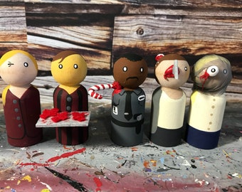 Wooden Peg People Inspired by Black Christmas
