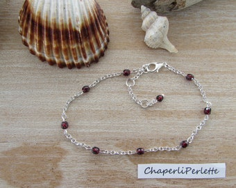 """Silver ankle bracelet chain link """"Ruby"""" Ruby Czech glass faceted beads"""