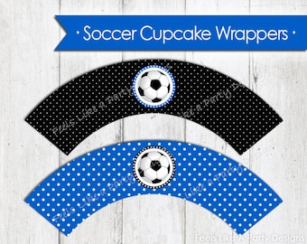 Blue Soccer Cupcake Wrappers - Instant Download