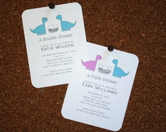 Baby, Twin, Triplet, Multiple Dinosaur Shower Invitations / Personalized / Twin Boys / Twin Girls / Boy & Girl Twins / Set of 10