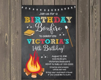 Bonfire Birthday Invitation, Backyard Bonfire Invitation, Camping Invitation, Smores Party Invite, Any colors, Printable or Printed