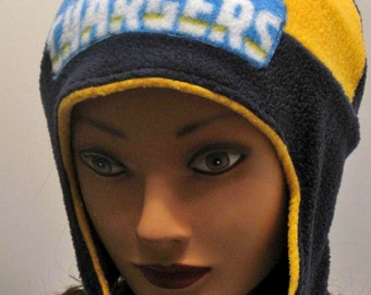 san diego chargers handmade  ski hat  earflap hat  football  bolts  navy blue  yellow