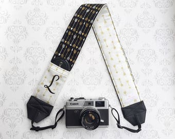 Personalized DSLR Camera Strap, Padded, Lens Cap Pocket, Nikon, Canon, DSLR Photography, Photographer Gift, Wedding - Gold Arrows with Black