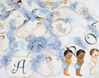 Baby Boy Shower Banner Vintage Baby Its a Boy w/ribbons - Party Garland Bunting  - Choose Size & Ribbons - Small Medium Large - It's a Boy