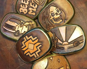 Leather Belt Buckley/ Personalized Belt Buckle/ Southwest Belt Buckle/ 70s' Accessories/ Navajo Belt/ Weed Belt Buckle/ Chopper