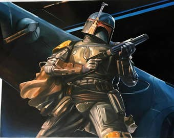 Star Wars Boba Fett Darth Vader oil painting on canvas, pop art, 24x32 inch, 100% money back guarantee