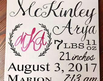 Baby announcement, custom birth announcement, handpainted