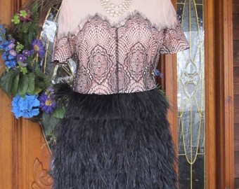 Vintage Like Flapper Ostrich Feather dress - SALE - Reduced