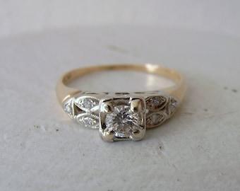 Vintage 14k 1940s Square Top Diamond Engagement Ring
