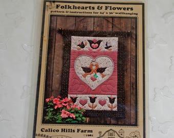Folkhearts & Flowers  Quilt Wall Hanging Pattern by Calico Hills Farm, 1981