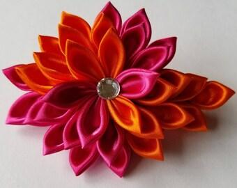 Kanzashi Flower Hair Clip - Floral Hair Clip - Pink and Orange Hair Flower - Pink Flower Hair Clip - Pink Hair Clip - Kanzashi Clip
