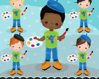 Artist painter Clipart. Crafty boy graphics, students, school, watercolor, paint brush, invitation, planner sticker, scrapbooking, activity