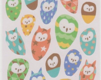 Owl Stickers - Japanese Paper Stickers - Mind Wave - Reference T4411-12