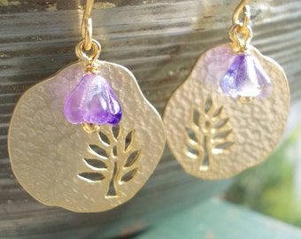 Gold tree of Life earrings, disc dangle earrings, little lavender flower, purple violet floral, inspired by nature jewelry, gold plated