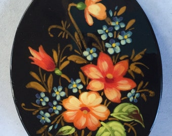 Vintage Hand Painted Flower Brooch Black Lacquer Tole Painted Delicate Floral