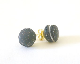 Stud Earrings - glittery macaroon polymerclay