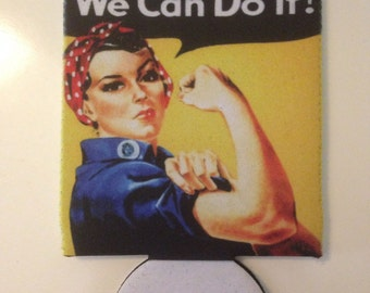 Rosie the riveter can cooler
