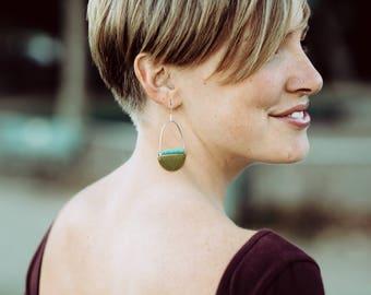 Geometric Brass & Turquoise Earrings