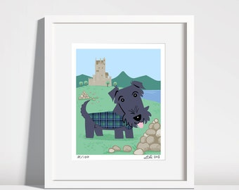 Scottish Terrier Puppy, Eilean Donan castle  - 8x10 art print