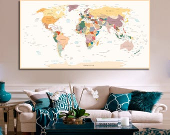 Framed world map etsy detailed world map travel map of the world map detailed push pin travel map with frame gumiabroncs Gallery