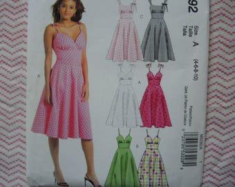McCalls sewing pattern 5292 misses dresses UNCUT size 4-6-8-10
