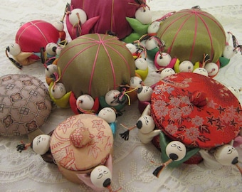 vintage pin cushions, button boxes - instant collection - asian motif, sewing kit