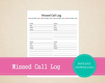 Missed Call Log - Business Planner - Printable and Editable - INSTANT PDF DOWNLOAD