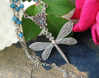 Dragonfly Necklace with Turquoise Beading - N471