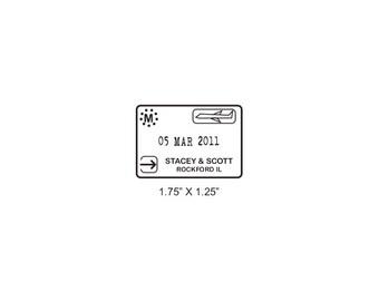 Custom Airplane Wedding Passport Save the Date Rectangular Rubber Stamp AD339