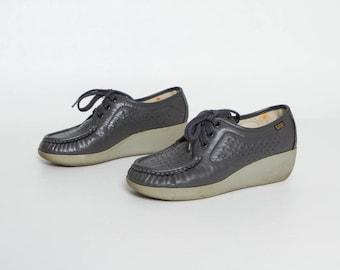 vintage 80s gray shoes | SAS platform tie shoes