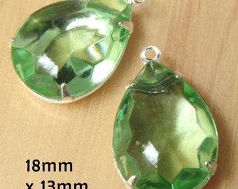CLEARANCE SALE - Peridot green vintage glass beads - 18x13mm teardrops - sheer light green rhinestone earring drops or pendants - one pair