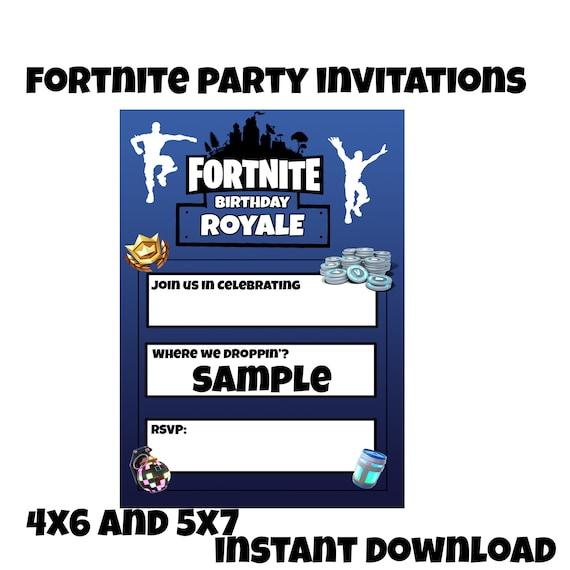 Printable Fortnite Invitations Page Two Birthday Wikii