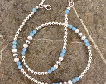 Genuine aquamarine, freshwater pearl, and sterling silver necklace. Southwestern style, western wear. Great to layer!Cinda Serafin handmade