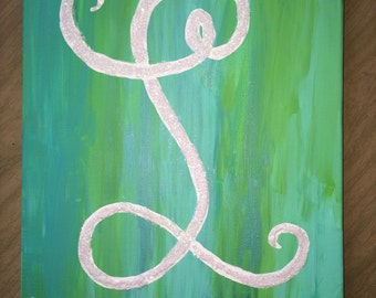 Abstract monogram initial letter glitter canvas (you choose color)