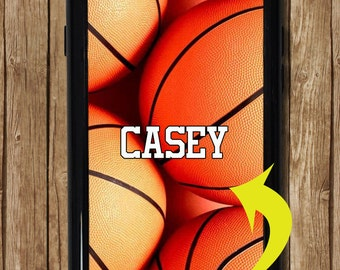 Basketball iPhone 7 Case with Name, Personalized Basketball iPhone Case, Monogram Gift, Basketball Gift, Fits iPhone 5, iPhone 6 and 6 Plus